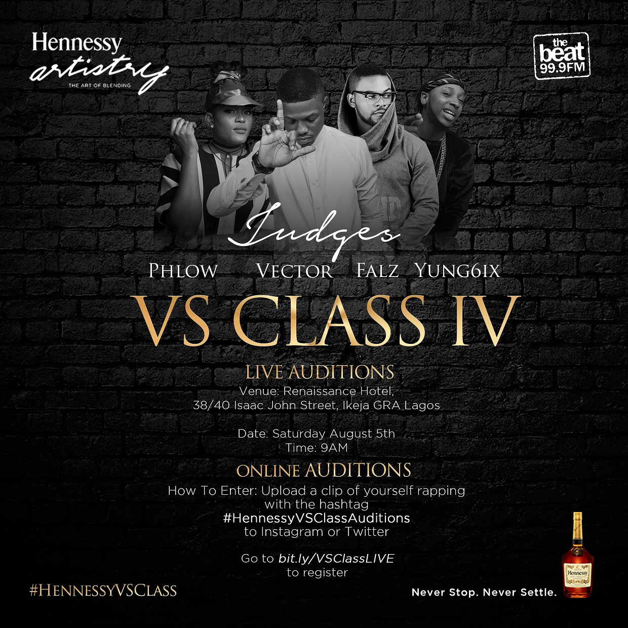 Hennessy Artistry VS Class First Live Audition With Vector, Falz, Yung6ix and Phlow as Judges