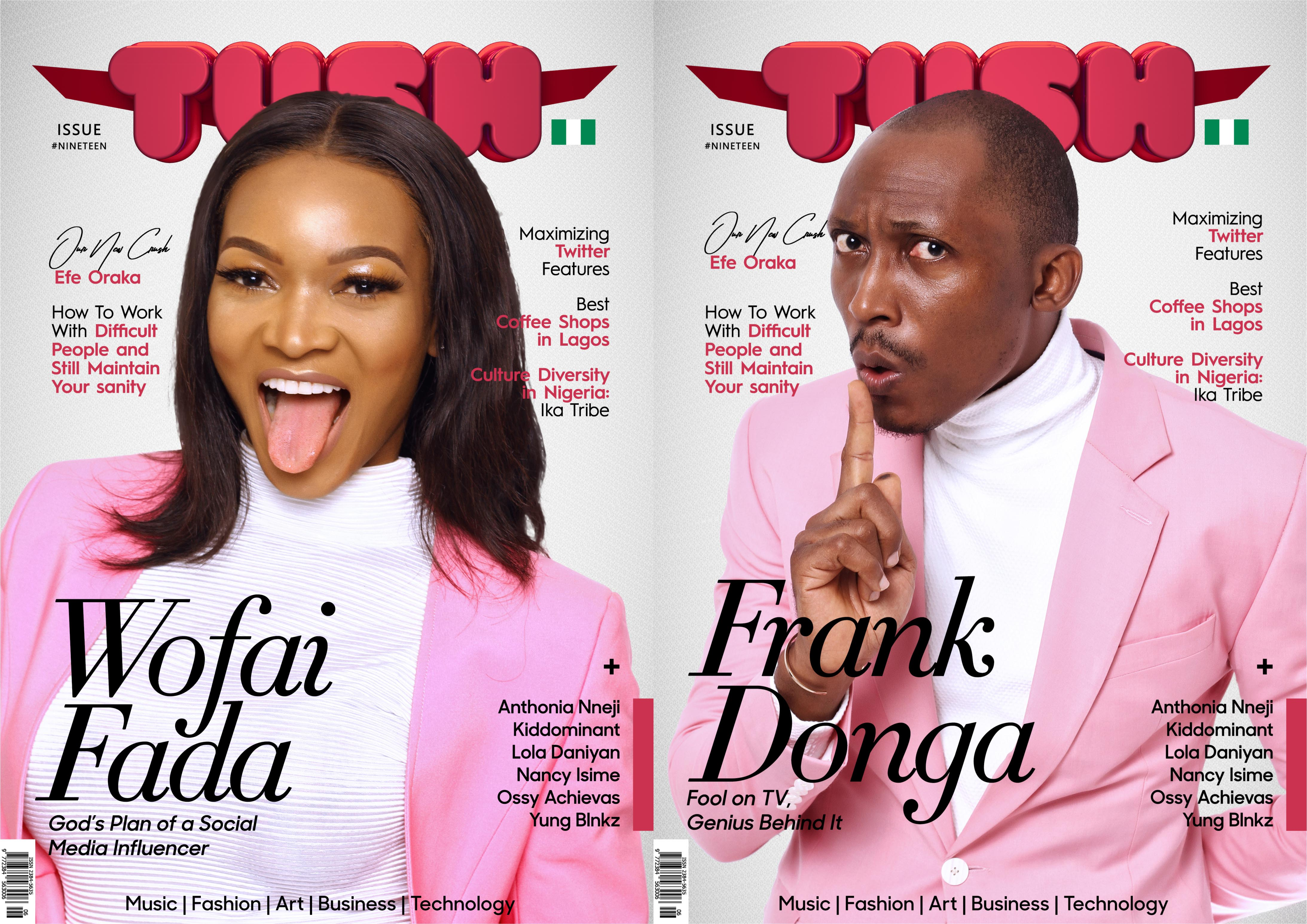 Frank Donga and Wofai Fada make funny faces as they cover Tush Magazine Issue 19